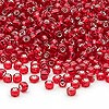 Seed bead, Dyna-Mites™, glass, silver-lined red, #8 round. Sold per 40-gram pkg.
