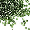 Seed bead, Dyna-Mites™, glass, silver-lined transparent olive green, #11 round. Sold per 40-gram pkg.