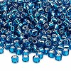 Seed bead, Dyna-Mites™, glass, silver-lined turquoise blue, #6 round. Sold per 1/2 kilogram pkg.