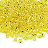 Seed bead, Dyna-Mites™, glass, silver-lined yellow, #8 round. Sold per 1/2 kilogram pkg.