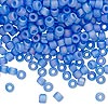 Seed bead, Dyna-Mites™, glass, transparent frosted blue AB, #6 round. Sold per 1/2 kilogram pkg.