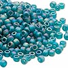 Seed bead, Dyna-Mites™, glass, transparent frosted rainbow emerald green, #6 round. Sold per 40-gram pkg.