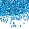 Seed bead, Dyna-Mites™, glass, transparent inside color, aqua, #11 round. Sold per 1/2 kilogram pkg.
