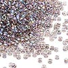 Seed bead, Dyna-Mites™, glass, transparent inside rainbow peacock, #11 round. Sold per 1/2 kilogram pkg.