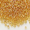 Seed bead, Dyna-Mites™, glass, transparent rainbow amber yellow, #8 round. Sold per 1/2 kilogram pkg.