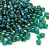 Seed bead, Dyna-Mites™, glass, transparent rainbow emerald green, #6 round. Sold per 40-gram pkg.