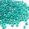 Seed bead, Dyna-Mites™, glass, transparent rainbow inside color sea foam, #6 round. Sold per 40-gram pkg.