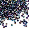 Seed bead, Dyna-Mites™, glass, transparent rainbow iris, #11 round. Sold per 40-gram pkg.