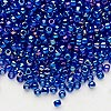 Seed bead, Dyna-Mites™, glass, transparent rainbow iris blue, #8 round. Sold per 1/2 kilogram pkg.