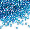 Seed bead, Dyna-Mites™, glass, transparent rainbow teal blue, #11 round. Sold per 1/2 kilogram pkg.