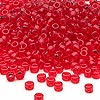 Seed bead, Dyna-Mites™, glass, transparent red, #6 round. Sold per 1/2 kilogram pkg.