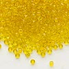 Seed bead, Dyna-Mites™, glass, transparent yellow, #8 round. Sold per 40-gram pkg.