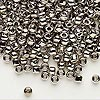 Seed bead, Dyna-Mites™, nickel-finished glass, #6 round. Sold per 40-gram pkg.