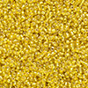 Seed bead, Ming Tree™, glass, silver-lined yellow, #11 round. Sold per pkg of 1 pound.