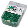 Seed bead, Ming Tree™, glass, transparent luster emerald green, #11 round. Sold per pkg of 1/4 pound.