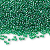 Seed bead, Ming Tree™, glass, transparent luster green, #11 round. Sold per pkg of 1 pound.
