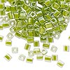 Seed bead, Miyuki, glass, clear color-lined lime, (SB245), 3.5-3.7mm square. Sold per 250-gram pkg.