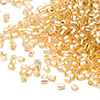 Seed bead, Miyuki, glass, gold, (#662), #11 hex 2-cut. Sold per pkg of 250 grams.