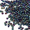 Seed bead, Miyuki, glass, metallic rainbow teal, (#455), #15 rocaille. Sold per 250-gram pkg.