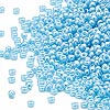 Seed bead, Miyuki, glass, opaque luster light blue, (#433), #15 rocaille. Sold per 250-gram pkg.