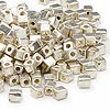 Seed bead, Miyuki, glass, opaque metallic silver, (#SB1051), 3.5-3.7mm square. Sold per 250-gram pkg.