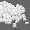 Seed bead, Miyuki, glass, opaque rainbow white, (DP471), 4x3.4mm fringe. Sold per 10-gram pkg.
