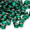 Seed bead, Miyuki, glass, silver-lined green, (#1807), #5 triangle. Sold per 25-gram pkg.