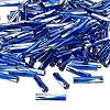 Seed bead, Miyuki, glass, silver-lined two-tone cobalt and silver, (#TW3934), 12x2.7mm twisted bugle. Sold per 50-gram pkg.