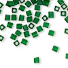 Seed bead, Miyuki, glass, transparent frosted green, (#SB146F), 3.5-3.7mm square. Sold per 250-gram pkg.