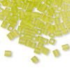 Seed bead, Miyuki, glass, transparent frosted lime, (#SB143F), 3.5-3.7mm square. Sold per 25-gram pkg.