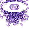 Seed bead, Preciosa Twin™, Czech glass, transparent lilac terra pearl, 5x2.5mm oval with 2 holes. Sold per 50-gram pkg.