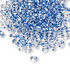 Seed bead, Preciosa Twin™, glass, denim blue-lined clear terra, 5x2.5mm oval with 2 holes. Sold per 10-gram pkg.