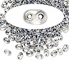 Seed bead, Preciosa Twin™, glass, grey-lined clear terra, 5x2.5mm oval with 2 holes. Sold per 50-gram pkg.