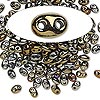 Seed bead, Preciosa Twin™, glass, iris gold, 5x2.5mm oval with 2 holes. Sold per 10-gram pkg.