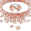 Seed bead, Preciosa Twin™, glass, peach-lined clear terra, 5x2.5mm oval with 2 holes. Sold per 10-gram pkg.