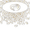 Seed bead, Preciosa Twin™, glass, silver-lined clear, 5x2.5mm oval with 2 holes. Sold per 50-gram pkg.