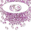 Seed bead, Preciosa Twin™, glass, violet-lined clear terra, 5x2.5mm oval with 2 holes. Sold per 10-gram pkg.