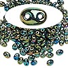 Seed bead, Preciosa® Twin™, glass, iris olive, 5x2.5mm oval with 2 holes. Sold per 10-gram pkg.