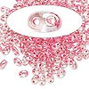 Seed bead, Preciosa® Twin™, glass, rose-lined clear terra, 5x2.5mm oval with 2 holes. Sold per 10-gram pkg.