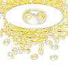 Seed bead, Preciosa® Twin™, glass, yellow-lined clear terra, 5x2.5mm oval with 2 holes. Sold per 50-gram pkg.