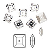 Sew-on bead, Swarovski crystal rhinestone, crystal clear, foil back, 8x2.5mm faceted square lochrose (3400). Sold per pkg of 288 (2 gross).