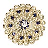 Sew-on component, Swarovski crystal and gold-plated brass, Crystal Passions®, purple velvet and crystal clear, 38x38mm flower (62010). Sold per pkg of 6.