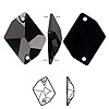 Sew-on component, Swarovski crystal, jet, 26x21mm flat back faceted cosmic (3265). Sold per pkg of 20.