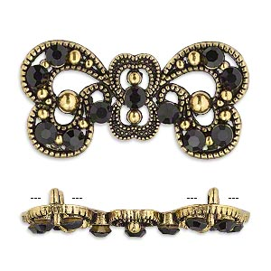"Spacer, antiqued gold-finished ""pewter"" (zinc-based alloy) and Czech glass rhinestone, black, 37x17mm 2-strand fancy bow. Sold per pkg of 4."