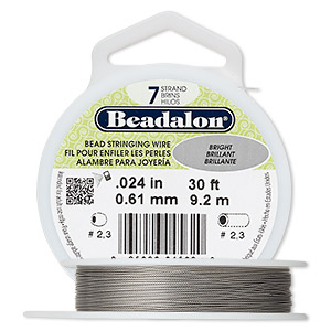 Wire, Beadalon®, nylon and stainless steel, bright, 7 strand, 0.024-inch diameter. Sold per 30-foot spool.