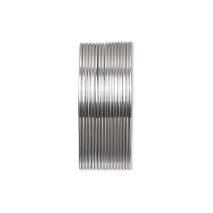 Wire, Beadalon®, stainless steel, 3/4 hard, round, 22 gauge. Sold per pkg of 10 meters.