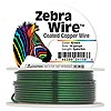 Wire, Zebra Wire™, color-coated copper, green, round, 14 gauge. Sold per 5-yard spool.