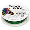 Wire, Zebra Wire™, color-coated copper, green, round, 28 gauge. Sold per 40-yard spool.
