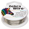 Wire, Zebra Wire™, copper, silver color, round, 18 gauge. Sold per 10-yard spool.