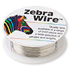 Wire, Zebra Wire™, silver-finished copper, round, 28 gauge. Sold per 1/4 pound spool, approximately 164 yards.